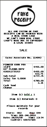 Example of Receipt
