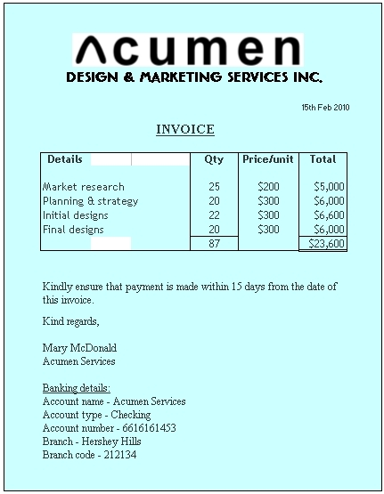Example of Invoice