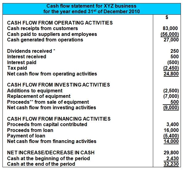 Cash Flow Statement Format