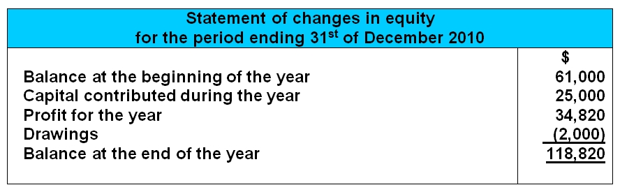 mini statement of changes in owners equity example